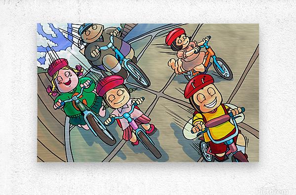 Riding Bikes  Metal print