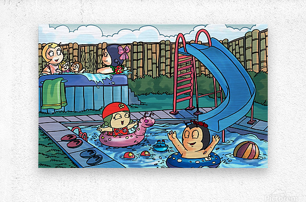 Pool Party - Bugville Critters  Metal print