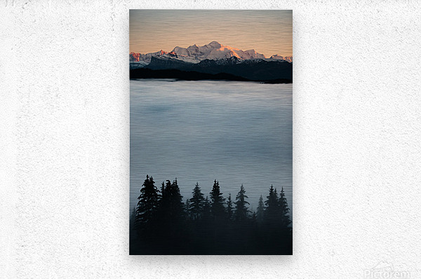Mont Blanc and its sea of clouds  Metal print