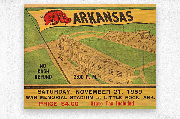 1959 Arkansas Football Ticket Art  Metal print
