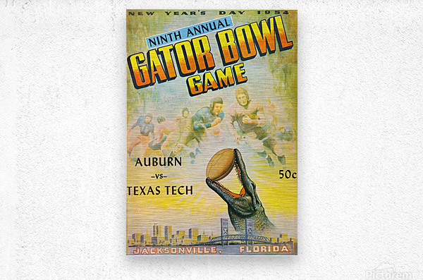 1954 Gator Bowl Auburn vs. Texas Tech  Metal print
