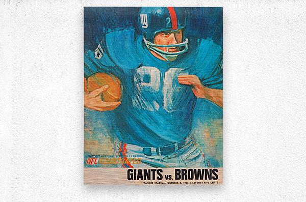 1966 New York Giants Program Cover Art  Metal print