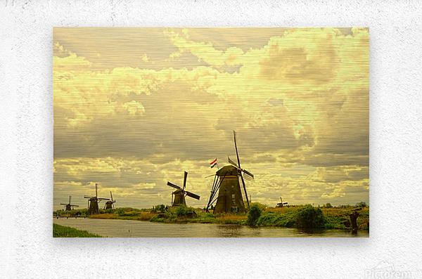 Windmills at Sunset   Metal print