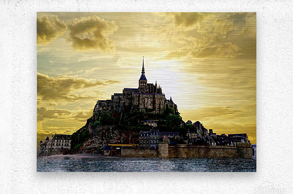 Golden Mont St Michel  Metal print