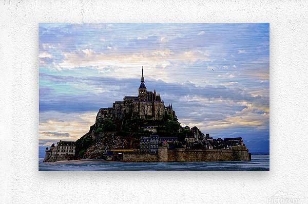 Mont St Michael Rising Tide Panorama  Metal print