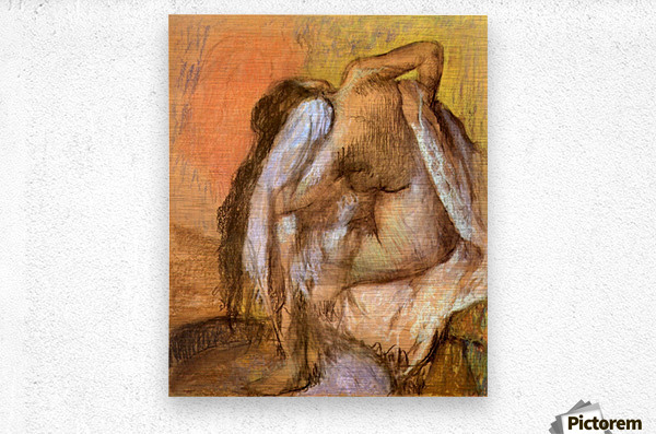 Seated female nude drying neck and back by Degas  Metal print