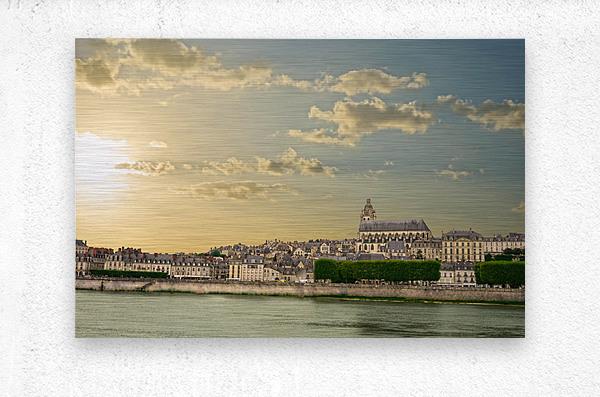 Blois and Cathedrale Saint Louis Across the Loire  Metal print