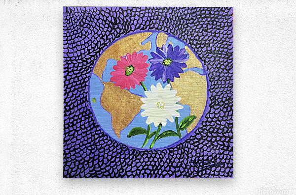 The Earth Daisy Husama Styl-Background  Metal print