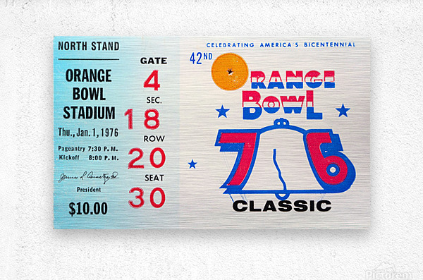 1976 Orange Bowl Ticket Stub Wall Art  Metal print