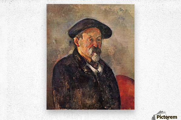 Self Portrait with Beret by Cezanne  Metal print