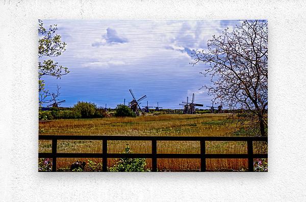 Windmills in Spring  Metal print