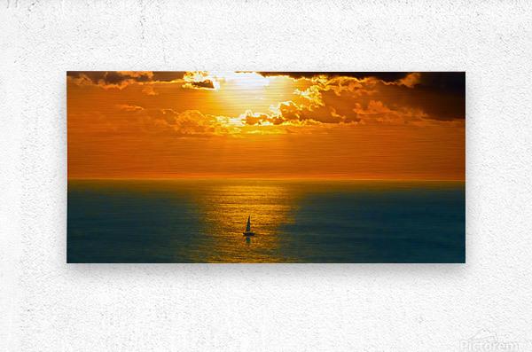 Sailing into the Sunset  Metal print