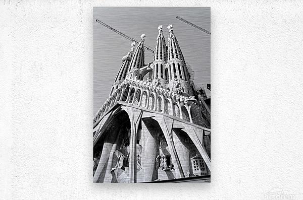 Barcelona Cathedral - La Sagrada Familia in black and white  Metal print