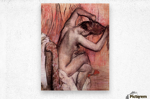 Sitting and brushing by Degas  Metal print