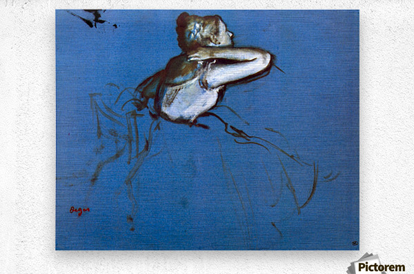 Sitting dancer in profile with hand on her neck by Degas  Metal print