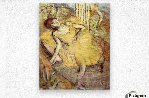 Sitting dancer with the right leg up by Degas  Metal print