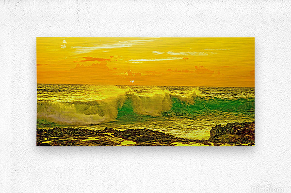 At the Sea Shore Panorama  Metal print