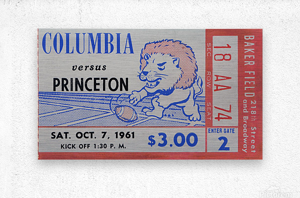 1961 Columbia vs. Princeton Ticket Stub Art  Metal print