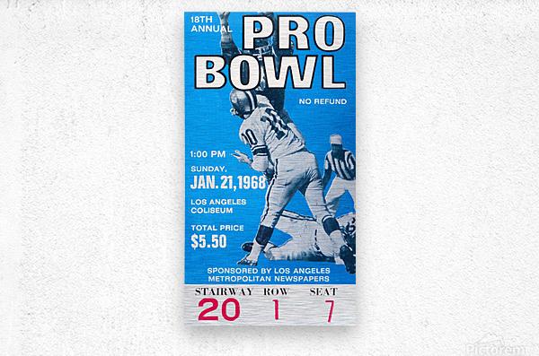1968 Pro Bowl Football Ticket Stub Print  Metal print