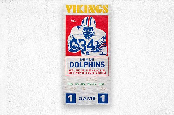 1981 minnesota miami football ticket  Metal print