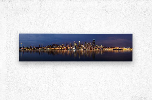 Seattle Skyline Panorama at Night  Metal print
