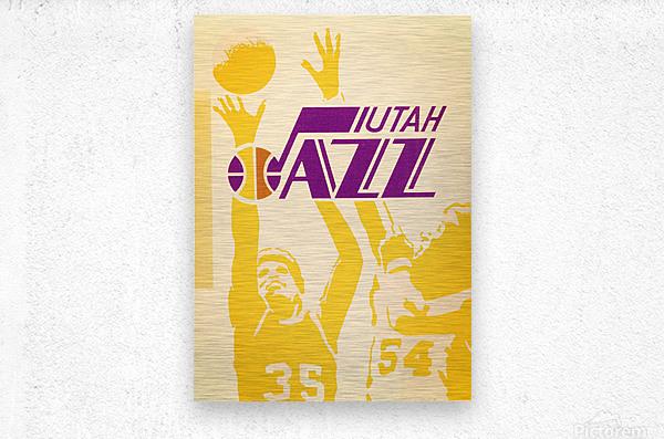 1980 Utah Jazz Retro Basketball Art  Metal print