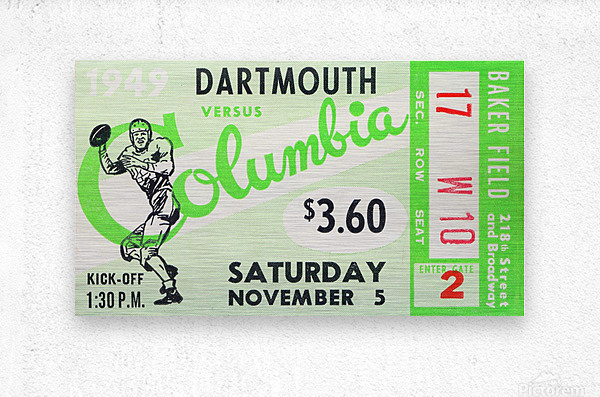 1949 Dartmouth vs. Columbia  Metal print