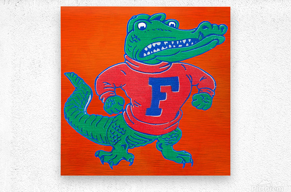 Retro Florida Gator Art  Metal print