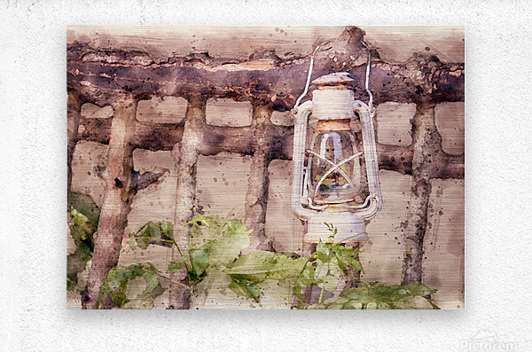 Maine Country Fence and Lantern  Metal print
