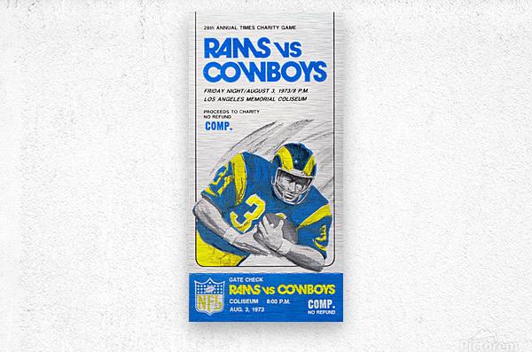 1973 LA Rams vs. Dallas Cowboys Ticket Art  Metal print