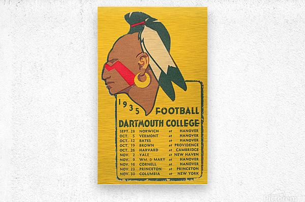 1935 Dartmouth Indians Football Poster  Metal print
