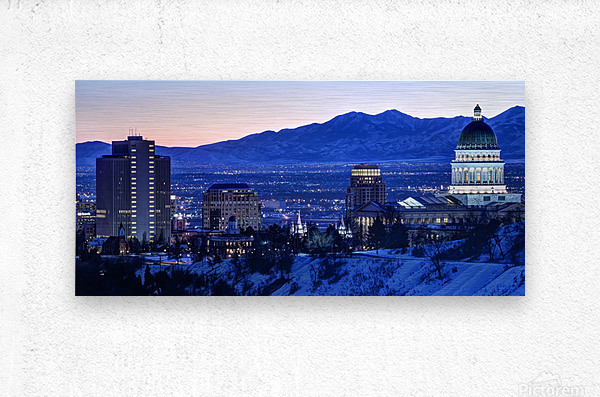Utah State Capitol Sunset Salt Lake City Government Architecture Photography Historic Lights Night Fine Art Photo Print  Wall Decor  Metal print