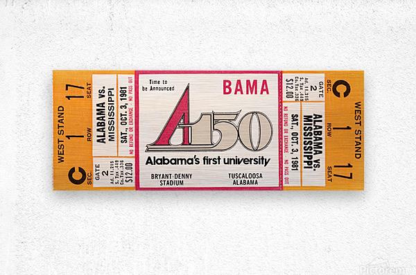 1981 Alabama Football Ticket Canvas Art  Metal print