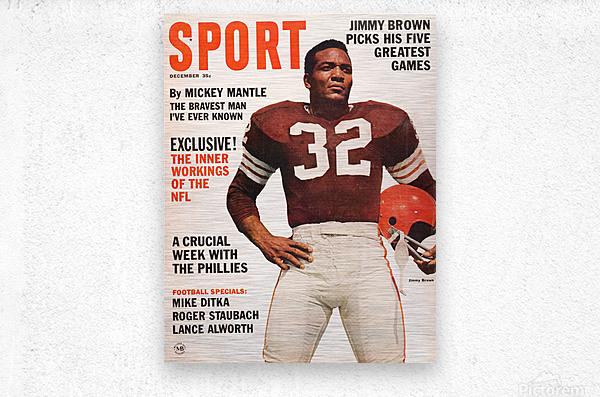 1964 Sport Magazine Jim Brown Cover Art  Metal print