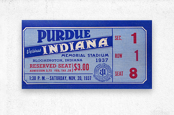 1937 Indiana vs. Purdue Ticket Stub Art  Metal print