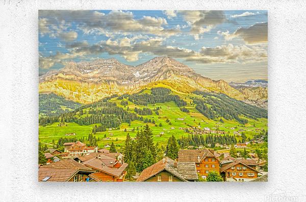 Golden Rays in the Mountains Alpine Village Switzerland  Metal print