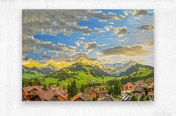 Golden Rays Across The Swiss Alps with Waterfalls  Metal print