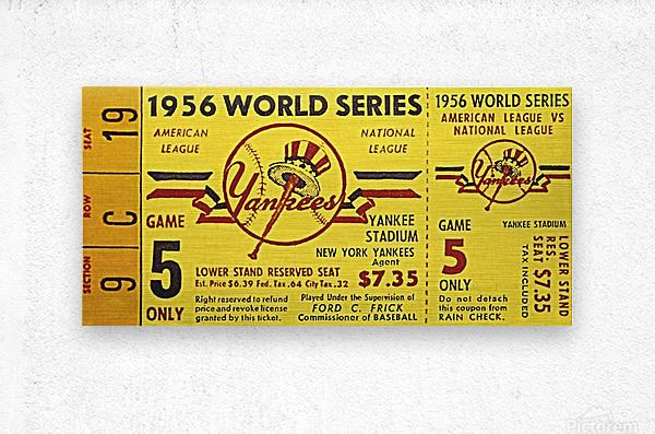 1956 World Series Perfect Game Ticket Stub Art  Metal print