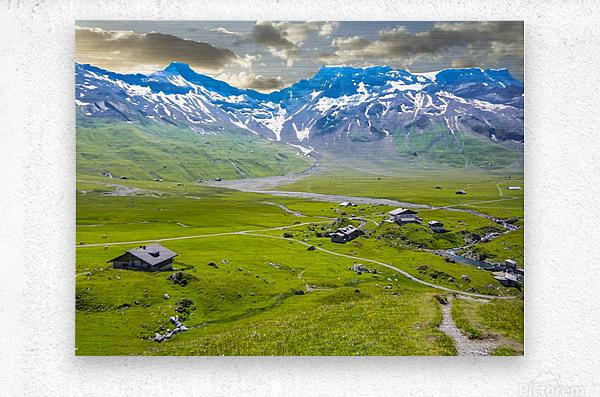 High Alps Village in Spring Switzerland  Metal print