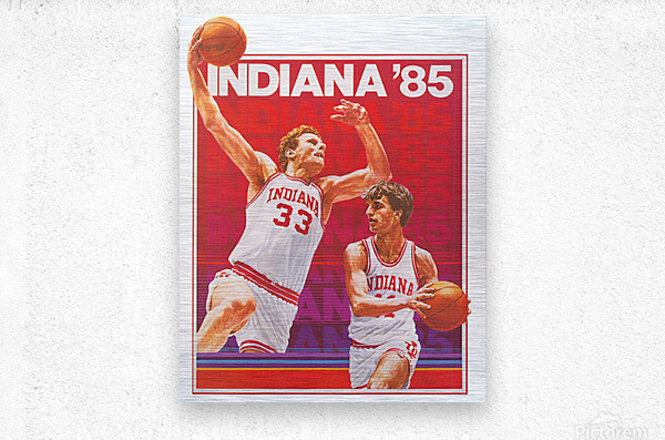 1985 Indiana Hoosiers Basketball Art  Metal print