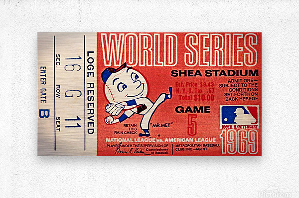 1969 New York Mets Game 5 Ticket Art  Impression metal