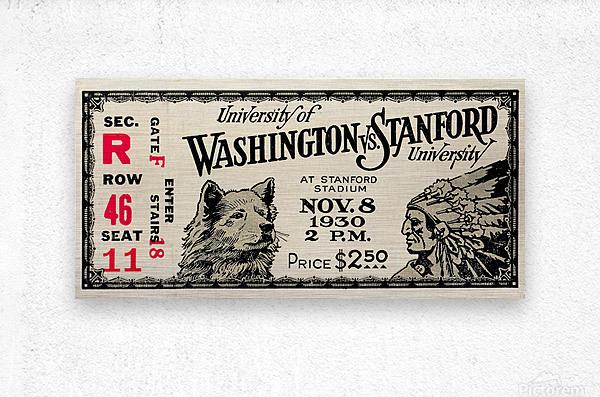 1930 Washington vs. Stanford Ticket Stub Art  Metal print