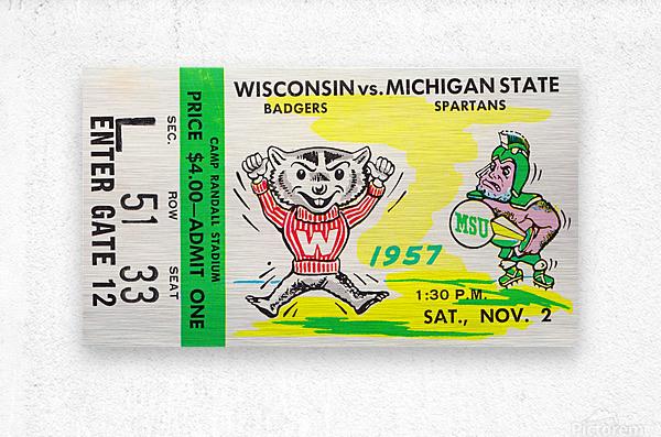 1957 Wisconsin vs. Michigan State Football Ticket Art  Metal print
