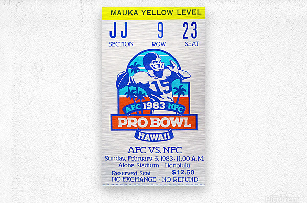 1983 Pro Bowl Ticket Stub Wall Art  Metal print