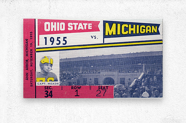 1955 Michigan vs. Ohio State Football Ticket Art  Metal print