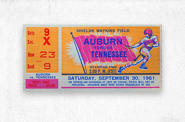 1961 Tennessee vs. Auburn Football Ticket Art  Metal print