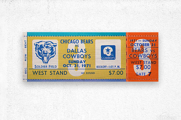 1971 Chicago Bears vs. Dallas Cowboys Ticket Art  Metal print
