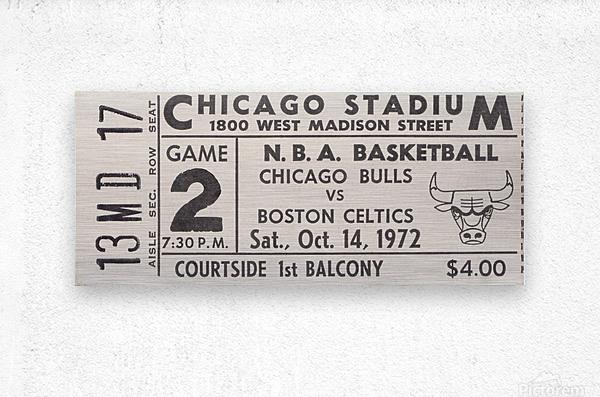 1972 Chicago Bulls vs. Boston Celtics Ticket Stub Art  Metal print
