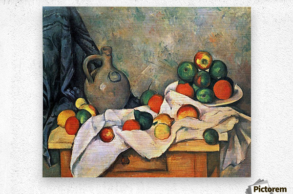Still life, drapery, pitcher and fruit bowl by Cezanne  Metal print