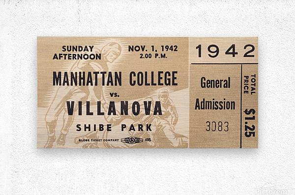1942 Villanova vs. Manhattan Football Ticket Art  Metal print